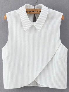 Chemiser à rayures col à revers sans manche -blanc-French SheIn(Sheinside)