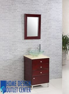 This glass bathroom vanity has a glass vessel sink, cream marble top, transitional outlook, freestanding style and a small sized medium wooden finished cabinet, which is very handy to use.  <...
