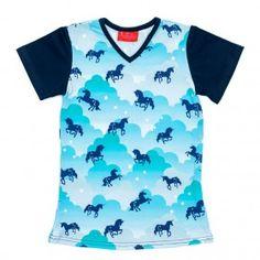 f6606be7a6a32d Meisjes t-shirt Ninie kinderkleding zomercollectie 2017 Unicorn blauw