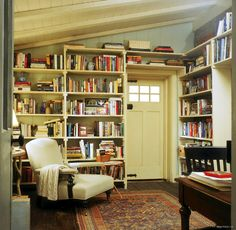 English Cottage, Kate Winslet, Cameron Diaz, Library, Office.  I've got to figure out how to get something like this in my house