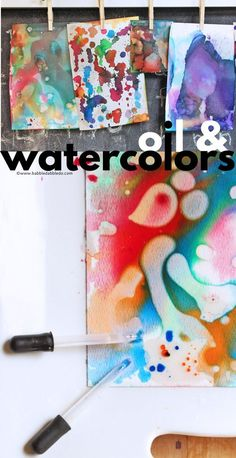 A simple STEAM activity for kids to try. Combine watercolors and oil in this easy science meets art experiment. Art Activities For Toddlers, Preschool Arts And Crafts, Creative Activities For Kids, Painting Activities, Creative Kids, Steam Activities, Kids Crafts, Kids Watercolor, Watercolor Projects