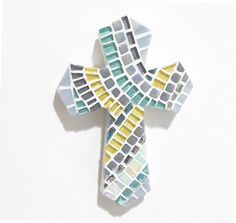 Shimmering mosaic cross - unique cross for baptism.  https://www.etsy.com/listing/481545819/wall-cross-cross-for-baptism-yellow-gray
