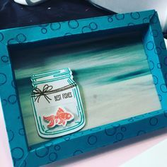 Jar of love fishes with video tutorial of how to make the 3D box frame that measures 4.5 x 6.5 inches from www.craftyhallett.co.uk