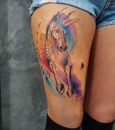Simona Blanar Watercolor horse tattoo
