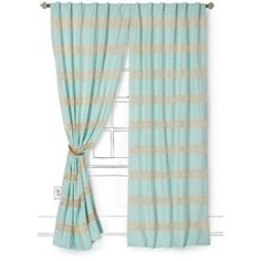 Crochet Spliced Curtain ($80) ❤ liked on Polyvore featuring home, home decor, window treatments, curtains, ice blue, crochet curtains, crochet home decor, crochet window treatments, pole pocket curtains and rod pocket draperies