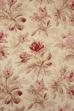 Gorgeous antique printed cotton fabric ~ ideal for vintage interiors ~ lovely heavy weight furnishing fabric ~ floral design ~ www.textiletrunk.com