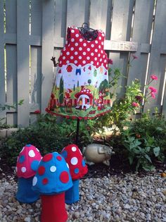 Gnomeville Lined Jumper With Jumbo Rick-Rack large wooden Mushroom buttons size5