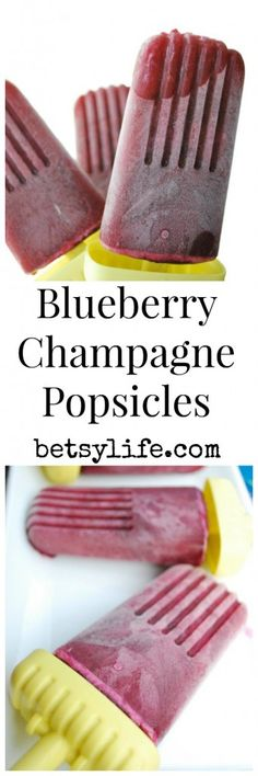 Blueberry Champagne Popsicles. A fun and healthy treat that is perfect for summer time by the pool.