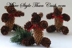 Christmas Pinecone Teddy Bear Tutorial
