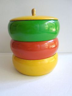 3 VTG Stacking Snack Tower Bowls Containers Plastic Lacquerware 60s