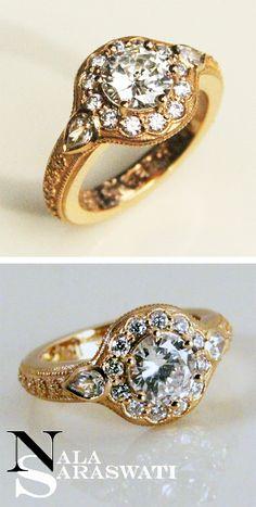Alternative engagement diamond ring in 22K gold by Nala Saraswati.