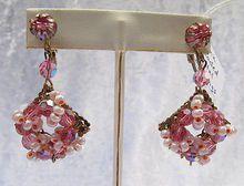 Feminine, Ornate Pink Vintage Crystal Dangle Clip Earrings - Vintage Jewelry Girl!