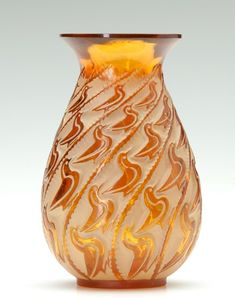 """René Lalique (1860-1945), Glass Vase, """"Canards"""", amber with whitish patina, c. 1931."""