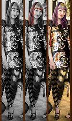 Serena Toxicat - Black Milk Clothing Prowler 3/4 Sleeve Velvet Dress, Black Milk Clothing Zig Zag Gold Leggings, Irregular Choice Cat Face Design Strap Mary Janes - Velvet Tiger