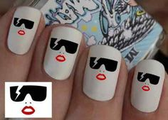 Lady Gaga Nail Wraps Nail Art Water Transfers Decal Natural / False Nails (or do it yourself)