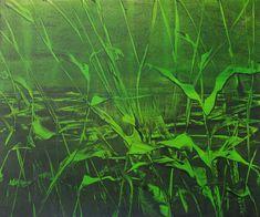 Original Print 10x12 Green Grey Black Sea Leaves