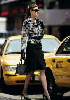 Black and White Houndstooth Jacket Black Pencil Skirt Sheer Black Pantyhose and Black High Heels