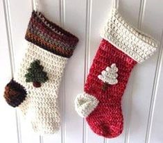25 Crochet Christmas Patterns to Try - A More Crafty Life Crochet Christmas Stocking Pattern, Crochet Stocking, Holiday Crochet, Christmas Patterns, Christmas Knitting, Crochet Crafts, Free Crochet, Easy Crochet, Free Knitting