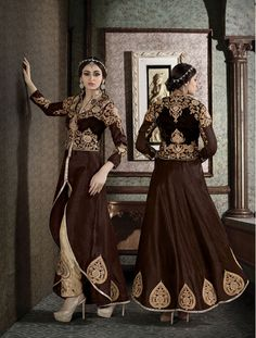 Brown Silk Pakistani Style Suit 70555