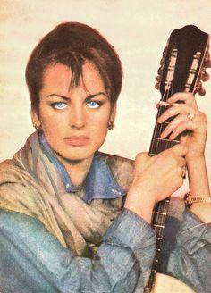 Dalila Di Lazzaro. Romanian postcard by Casa Filmului Acin.