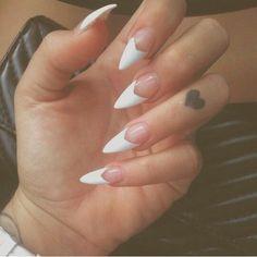 White V French Tip Stiletto Nail Design - #nails #stiletto #stilettonails #nail