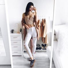 """Daria☽❃ (@dariafoldes) on Instagram: """"All about white & nude🙌🏼 My new fav ripped jeans from @rebelliousfashion 💣🔥🔥 (🔍: White Multi Ripped…"""""""