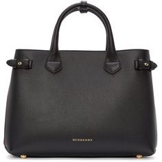 Burberry London Black and Plum Medium Banner Tote ($1,400) ❤ liked on Polyvore featuring bags, handbags, tote bags, buckle purses, studded tote, black studded handbag, burberry tote bag and black purse