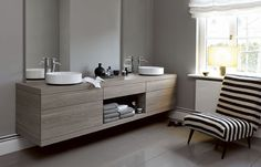 Double washbasin cabinet / contemporary / oak / wall-hung 9 Alape