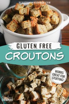 Learn how to make delicious gluten free croutons to toss into salads and soups. These super tasty croutons can also be used to make gluten free breadcrumbs or stuffing. Good Gluten Free Bread Recipe, Gluten Free Bread Crumbs, Healthy Bread Recipes, Gluten Free Recipes For Breakfast, Healthy Meals For Kids, Healthy Meal Prep, Healthy Dinner Recipes, Healthy Eating, Vegetarian Side Dishes