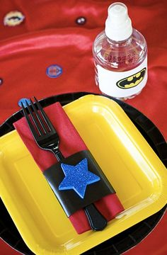 kids party super heroes table decor