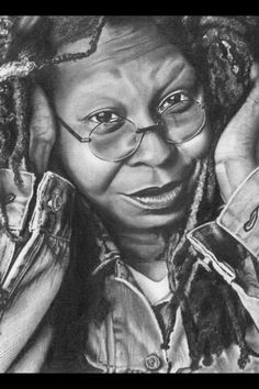 Drawing Realistic Pencil Portrait Mastery - Whoopi Goldberg --pencil portrait One of the Best Drawings on Whoopi Goldberg that Ive Ever Seen. - Discover The Secrets Of Drawing Realistic Pencil Portraits Realistic Pencil Drawings, Pencil Drawing Tutorials, Amazing Drawings, Cool Drawings, Amazing Art, Horse Drawings, Portrait Au Crayon, Pencil Portrait, Celebrity Drawings