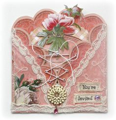Pretty In Pink...stitched & laced card with embellishments.