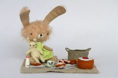 Awesome inspiring mohair bunnies with accessories