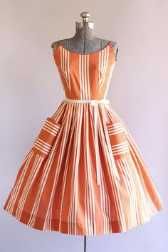 Vintage 1950s Dress / 50s Cotton Dress / Jerry Gilden Red and White Striped Sun Dress S