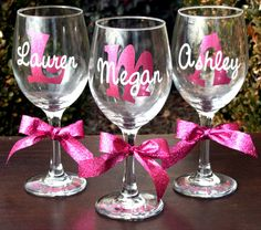 7 Shirts And 7 Matching Wine Glasses - 7Glitter Bridal Shirts & 7Personalized Matching Wine Glassess - For Wedding on Etsy, $165.27