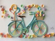 Quilling Bike / Flowers / Paper Filigrana - You - Quilled Paper Art Arte Quilling, Paper Quilling Flowers, Paper Quilling Patterns, Origami And Quilling, Quilled Paper Art, Quilling Paper Craft, Paper Flowers Diy, Paper Crafts, Quilling Ideas