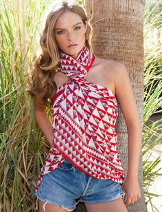 try this ways to wear featuring Theodora & Callum's Luxor Tie All scarf worn as a halter top to create the perfect scarf outfit!