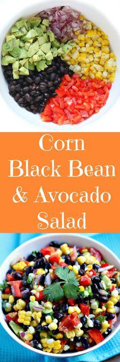 corn black bean & avocado salad - Recipes by Chocolate Slopes - Avocado Avocado Recipes, Lunch Recipes, Mexican Food Recipes, Vegetarian Recipes, Cooking Recipes, Healthy Recipes, Bean Salad Recipes, Corn Recipes, Avocado Dessert