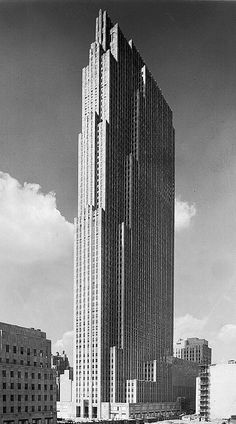 Rockefeller Center, including its centerpiece tower (seen here shortly before its 1933 opening and now familiarly known as 30 Rock) was primarily designed by architect Raymond Hood. Photo by Samuel H. Gottscho