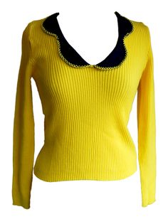 Vintage 1960s Yellow Feature Collar Skinny Jumper Size 8