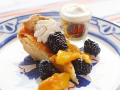 Whiskey Buttermilk Pie with Fresh Whipped Cream and Tipsy Blackberries and Peaches #Recipe #SummerCentral #RedWhiteGrill