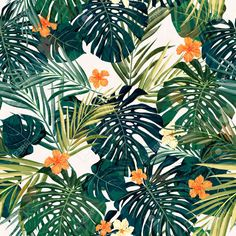 Summer colorful hawaiian seamless pattern with tropical plants and hibiscus flowers, vector illustration Foto de archivo - 40377320