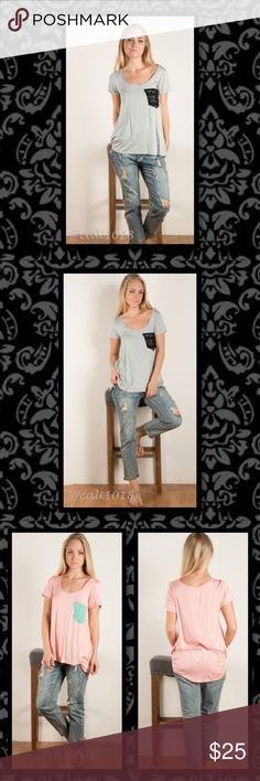 Gray Relaxed Tee Blk Crochet Pocket 1/$25 2/$40 New 2 Color Choices Soft Solid Jersey Tee with Crochet Pocket   Colors: Peach/Mint or Gray/Black  Material: 95% Rayon 5% Spandex  Size: Small, Medium, Large  Fits true to size  Loose slouchy casual fit  Price firm  1/$25 or 2/$40 Glam Squad 2 You Tops Tees - Short Sleeve