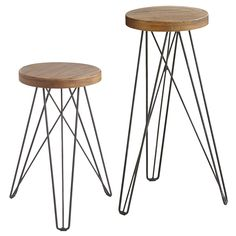 Our modern/industrial Erie stools—with their hairpin legs and solid mango wood seats—are built for living. Inspired by mid-century design, they're a minimalist mix of sleek steel and naturally variegated, organic wood that combines to create a most stylish place to sit.
