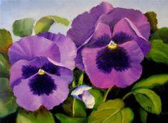 "Daily Paintworks - ""Purple Pansies"" - Original Fine Art for Sale - © Nel Jansen"