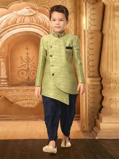 Shop Light green party wear textured pattern indo western online from India. Boys Party Wear, Kids Party Wear Dresses, Kids Wear Boys, Kids Dress Wear, Kids Indian Wear, Kids Ethnic Wear, Kids Blouse Designs, Mens Kurta Designs, Wedding Dress For Boys