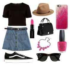 """Back in Black"" by katrenn on Polyvore featuring Ted Baker, Chicnova Fashion, Vans, Miu Miu, rag & bone, Ray-Ban, Casetify, OPI and Smashbox"