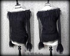 Shabby Gothic Black Pixie Mesh Dark Faery Top 8 10 Witchy Romantic Goth | THE WILTED ROSE GARDEN