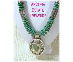 Alfred Joe Navajo ~ Large Turquoise Sterling Silver Necklace ~ Green Kingman Turquoise ~ FREE SHIPPING $2850   www.FindMeTreasure.com