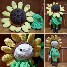 Crochet flower doll Sunflower Sam made by Sandra G P - crochet pattern by Zabbez